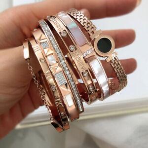 Wholesale 6pcs Mixed Luxury 18K GP Stainless Steel Women's Bangle Bracelet Gift