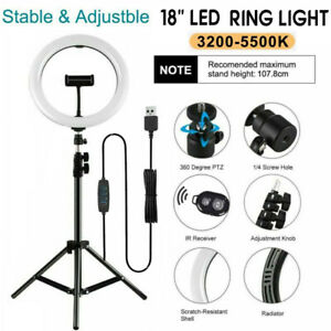 "18"" LED Ring Light Dimmable Lighting Kit Phone Selfie Tripod Stand Live Stream"