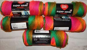 Red Heart Super Saver Stripes Yarn- 5 NEW 5 oz. skeins- Preppy Stripe- Lot 6970