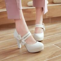 Women High Heels Knot Platform Round Toe Pumps Buckle Belt Party Prom Shoes Club