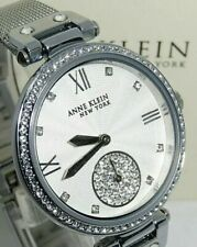 Original Anne Klein NY Women's 34mm Mesh Silver Tone Crystal Accent Watch