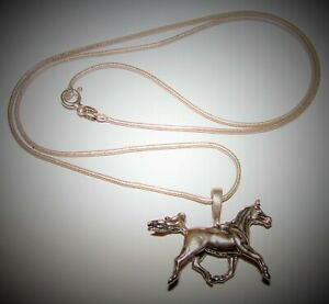 Vintage KBN KABANA Sterling Silver Horse Pendant & Italy GW Snake Chain Necklace