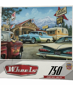 Dan Habala Wheels 750 Piece Puzzle Route 66 1950's Cars Campers Last Chance