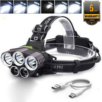 90000LM 5X T6 LED Headlamp Rechargeable Headlight Light Flashlight Head Torch FK