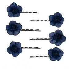 6 épingles pinces plates cheveux mariage soirée fleur bleu nuit satin organza