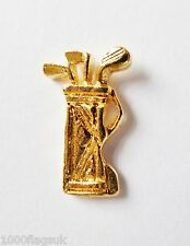 Golf Bag & Clubs Small Gilt Pin Badge - FG46