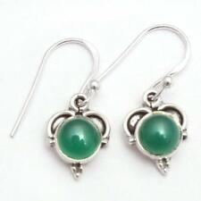 Natural Green Onyx Solid 925 Sterling Silver Gift Earring Handmade Jewelry