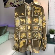 Ornate Mens Button Front Shirt Sheer Safari Lions Medallions Avant Garde M L Vtg