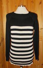 WALLIS black beige oatmeal striped knitted jumper sweater tunic  top 10 38