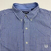 Chaps Button Up Shirt Men's Size XL Short Sleeve Blue Checkered Easy Care Casual
