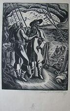 "LEON UNDERWOOD BRITISH WOODCUT ""JOHN PAUL JONES"" 1927"