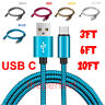Nylon Braided Rope USB-C Type-C Data Sync Charger Charging Cable Cord 3FT 6FT 10