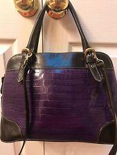 Aurielle Purple Handbag Leather Medium Sized Satchel with long Strap Purse!