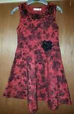 Stunning M&Co Red & Black Flowers Roses Evening /Party Dress 8-9 Years ☆ Monsoon