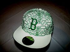 Boston Red Sox Hat White w Green All Over Spelled Out Print New Era Fitted 7 3/4