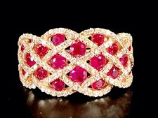 RARE EFFY 14K ROSE GOLD RUBY ROYALE 153 DIAMOND INTERWOVEN COCKTAIL RING SZ 7
