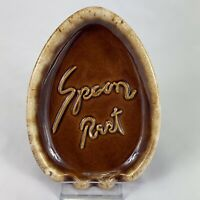 Vintage HULL USA Oven Proof Spoon Rest Brown Drip Glaze Art Pottery