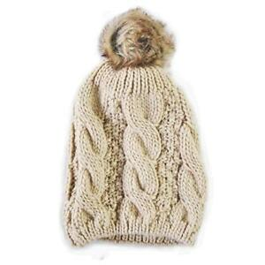 CARROLLS IRISH GIFTS KNIT STYLE BEIGE TAMMY HAT BOBBLE HAT WITH FAUX FUR BAUBLE