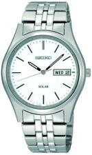 SEIKO SNE031P1 Solar Day Date All Stainless Steel White 2 Year Guar RRP £159.00