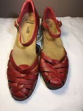 Clarks Red Mary Jane Womens Shoes Sz 10M. NWOB/T