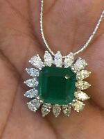 5.50 Cts Marquise Pear Natural Diamonds Emerald Pendant Chain In Solid 18K Gold