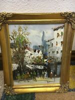 ORIGINAL PARISIAN STREET SCENE OIL ON CANVAS BY JEAN REMY