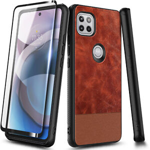 Leather Case For Motorola One 5G Ace, Shockproof Phone Cover + Screen Protector
