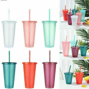 Flash Powder Shiny Reusable Plastic Water Bottle Cold Cup W/ Lid And Straw UK·
