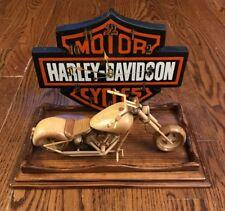 Prison Made - Harley Davidson Clock - Wooden Soft Tail Deuce Motorcycle Shield