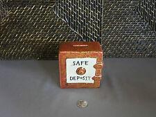 Miniature piggy bank safe deposit box figurine tan brown design