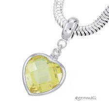 Sterling Silver Yellow CZ Heart Charm Stopper Fit European Bracelet #94251