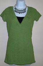 Juniors Hollister size Medium Green top V-neck blouse form fitting shirt Cute!