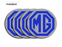 MG ZR ZS ZT Alloy Wheel Centre Badges Blue Silver 80mm Set Pack of 4