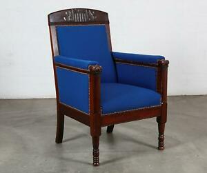 19th Century Carved Mahogany Brass Studded Navy Upholstered Bergere