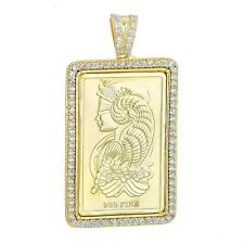 .925 Sterling Silver 14k Gold Finish Frame Swiss Bar Pendant With Free Chain
