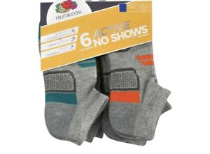 Boys Fruit Of The Loom 6 Active No Show M/M 9 - 2 1/2 Socks.. NEW!!!!