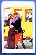 VINTAGE SWAP CARD. GAUMONT FILM 1920s POSTER ART.FRENCH SOLDIER LEAVES FOR WAR.