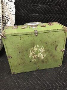 Vintage Roller Skate Carrying Case Box Vinyl, Metal  Box, Green - Star