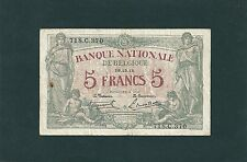 BANQUE NATIONALE DE BELGIQUE 5 FRANCS 29/12/1918