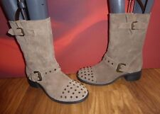 *46* KELSI DAGGER BROWN BEIGE SUEDE  LEATHER  STUD ANKLE BOOTS  EU 40 UK 7 USA 9
