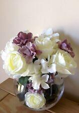Artificial Silk Flower Arrangement Cream Roses Mauve And Cream Hydrangea In Vase