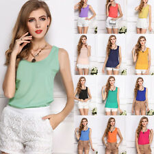 Women Summer Chiffon Sleeveless Vest Shirt Loose Casual Blouse Tank Top Big Size