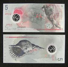 MALDIVES Polymer Plastic Banknote 5 Rufiyaa 2017 UNC