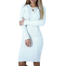 Womens Long Sleeve Bodycon Slim Cocktail Party Pencil Ribbed Knit Mini Dress US