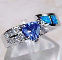 Blue Sapphire & Australian Opal Inlay 925 Sterling Silver Ring Jewelry Sz 6 OR-1
