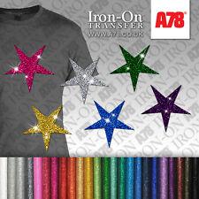 IRON-ON Glitter Star Motif Hot Fix FABRIC T-SHIRT vinyl TRANSFER SEQUIN Sticker