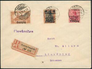 WWII Danzig 21.9.1920 R-Brief mit Mi.-Nr.6,10,26Io to Linköping/Sweden RARE