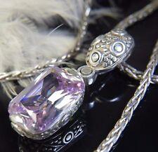 "1 1/2"" HUGE 13 x 20mm Purple Iolite Sterling Silver 0.925 24"" Estate Necklace"