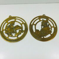 "PAIR OF BRASS BO-PEEP? PLAQUES  ""IT'S PLEASANT TO LABOUR FOR THOSE WE LOVE"""