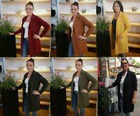 Damen Strickmantel Strickjacke Cardigan Longshirt Jacke Mantel Trend Strand